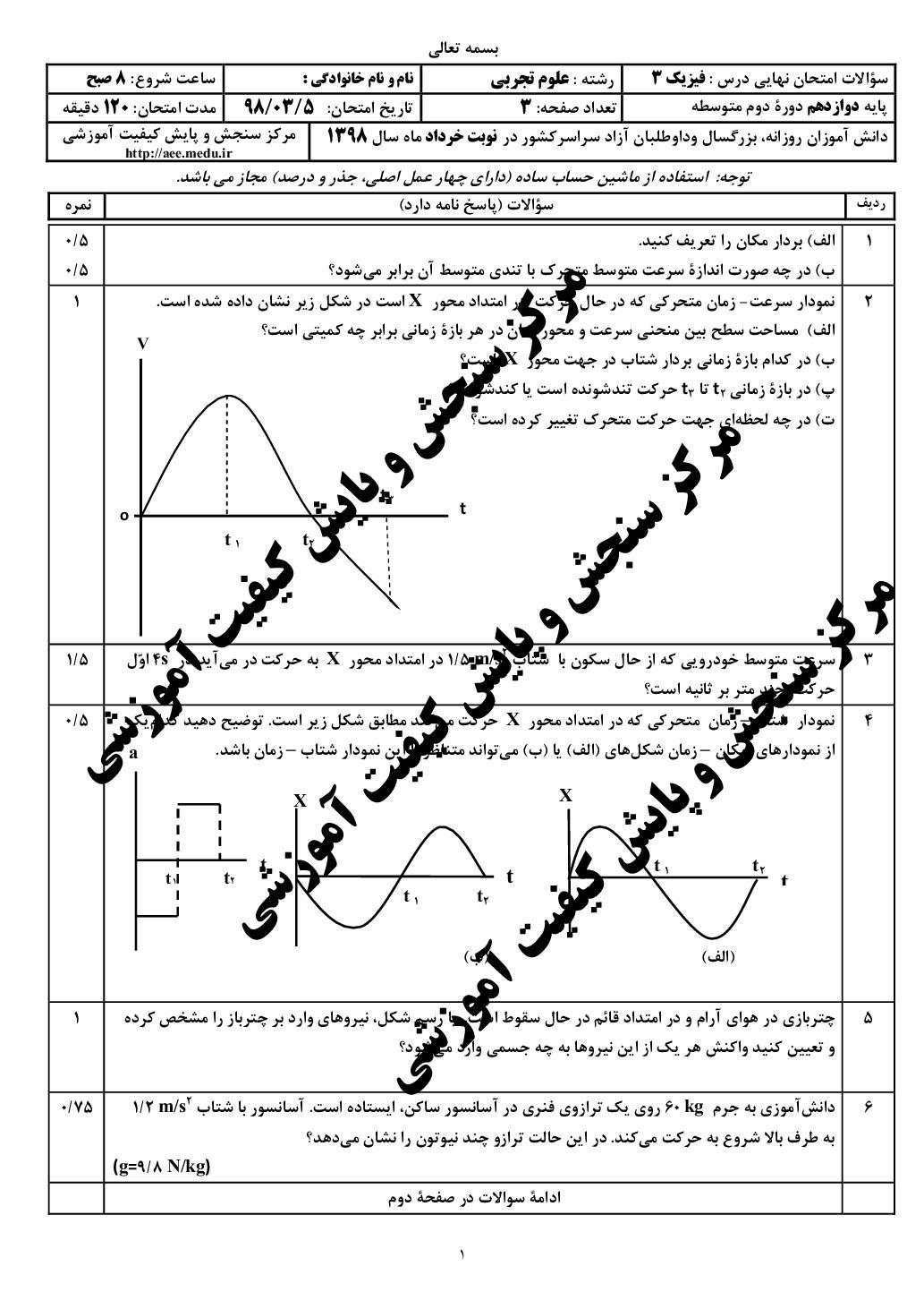 امتحان نهایی فیزیک 3 - خرداد 98 (PDF)
