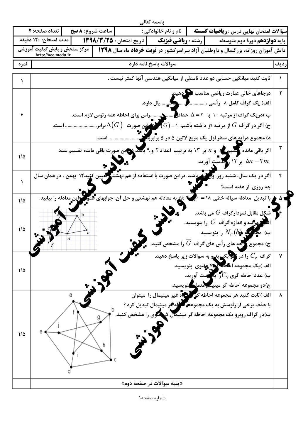 امتحان نهایی ریاضیات گسسته - خرداد 98 (PDF)