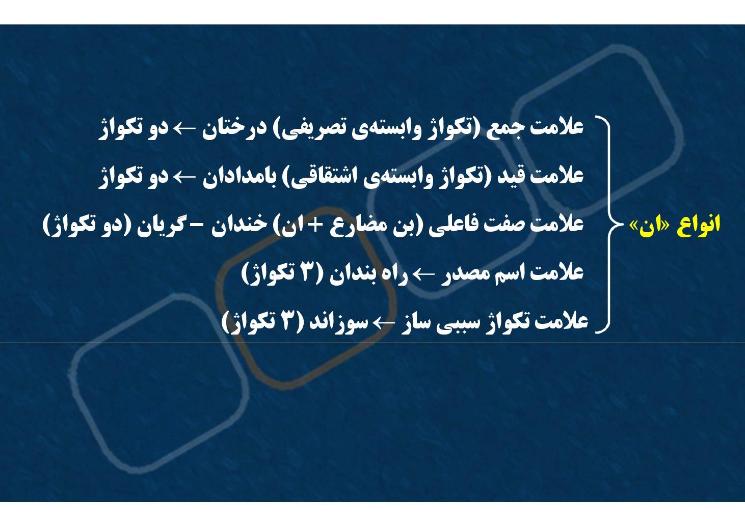 زبان فارسی٣- دستور- انواع «آن»- انواع «ی» (PDF)