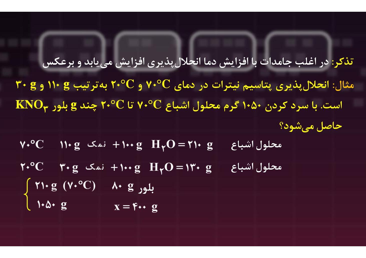 شیمی ٣- بخش ٣-- محلولهای سیرشده- سیرنشده- فراسیرشده (PDF)