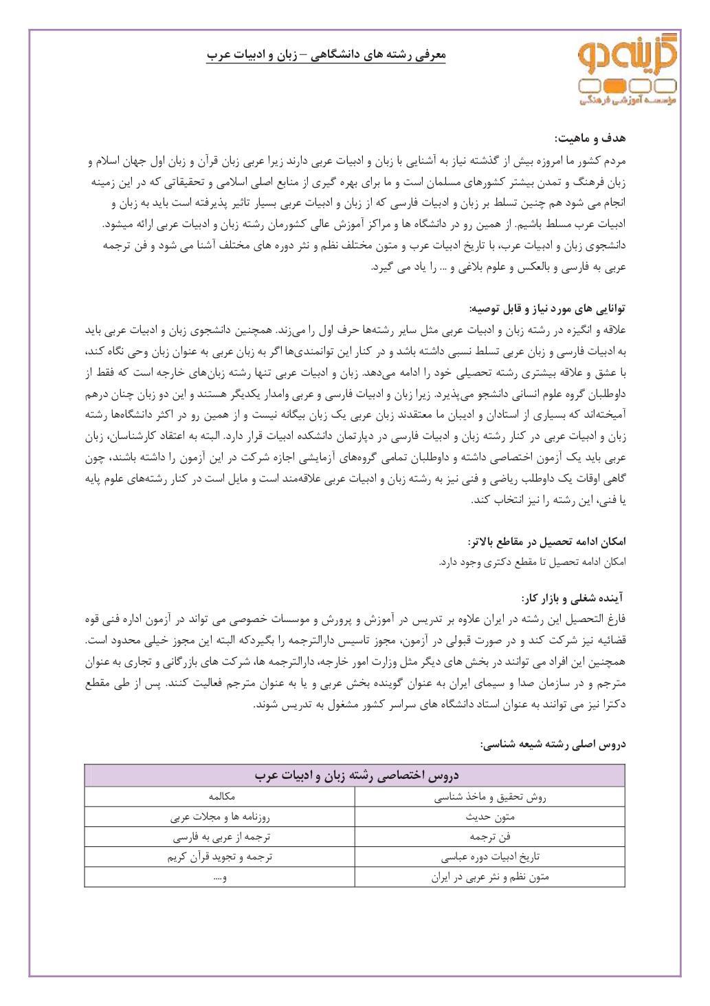 زبان و ادبیّات عرب (PDF)
